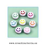 Bolsita Smileys - emoticonos acrílicos color blanco sonrisa color  10mm - 50 unidades