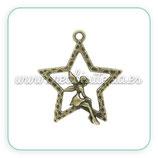 Charm estrella y hada bronce viejo CHAOOO-C02631 (10 unidades)