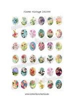 36 Imágenes vintage de flores 18x25mm