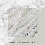 Abalorios -  Cristal facetado  4x3mm color blanco efecto  plateado  P5003 (138 piezas)