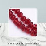 Abalorios -  Cristal facetado  4x3mm color rojo /vino semitransparente P029 (140 piezas)