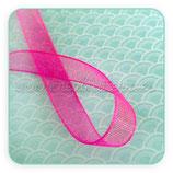 Cinta organza rosa flúor fina 0,7cm ancho