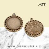 Camafeo borde arandelitas bronce viejo 20mm (10 unidades)
