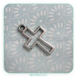 Charm religión - cruz mediana plata vieja  hueca CHAOOO-R16941m(10 unidades)
