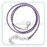Correa collar algodón encerado 1,5mm púrpura y blanco COR-C57864