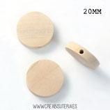Madera círculo abalorio plano 20mm  MAD-C514 (10 unidades)