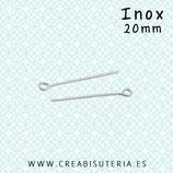 INOX - Bastón cabeza redonda hueca engarzar  20mm  (25 unidades)