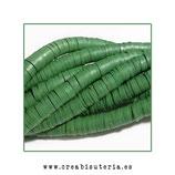 Abalorio arcilla Katsuki polimérica redondo plano 40cm  6,5mm (330 unidades apro) verde musgo