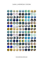 140 Imagenes Lunas y estrellas 12x12mm