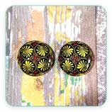 LOTE ÚNICO - cabuchones de cristal mandalas - ornamento amarillo fuerte dorado (4 unidades)