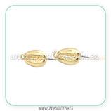 Pendiente base caracola caputserpentis dorado con anilla C335  (5 pares)