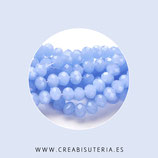 Cristal facetado 6x4mm. Azul aciano (95 unidades aprox.)