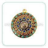 Colgante tibetano - 006 - Dorado y adornos turquesa  rojo y azul