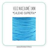 Cordón macramé 1mm  Calidad Suprema  Color Azul cielo  (5 metros)