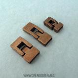 Terminal rectangular liso bronce viejo  1 juego medida