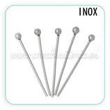 INOX - Bastón cabeza redonda pequeño 20mm  (20 unidades)