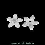 FLORLUCIT 39B -Flores acrílicas 17x16,5x4mm Medianas ccolor blanco  P1936Y  (20 unidades)