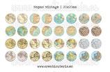 Lámina 32 imágenes mapas vintage 20x20mm