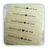 Etiquetas adhesivas Handmade with love  12 unidades