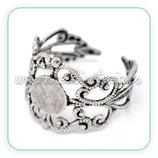 Anillo base ajustable ornamental plata vieja C4899 - 2 unidades
