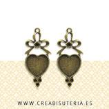 Bases pendientes vintage Lazo y Corazón (un par)