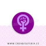 Cabuchón Cristal estampado símbolo Feminismo morado
