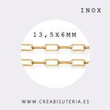 INOX - Cadena eslabón grande redondeado dorado INOX 13,5mm (1 metro) P50R