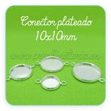 Camafeo conector redondo plata brillo supreme 10x10mm CAMBAS-CB537b (10 unidades)