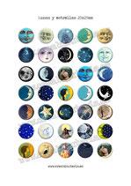 35 Imagenes Lunas y estrellas 25x25mm