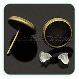 Pendiente base camafeo botón bronce antiguo cabuchón 10mm C17429 (10 pares)