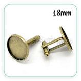 Gemelos 18 mm de cabuchón bronce viejo C17297