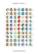 70 Imágenes vintage de mariposas II *Nuevas* 18x18mm