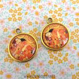 """Camafeo dorado + cabu de cristal """"el abrazo"""" de Klimt 20mm (2 unidades)"""