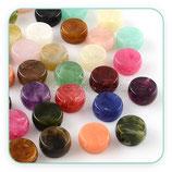 Abalorio acrílico imitación piedra en forma  redonda plana  (5 pares colores variados)