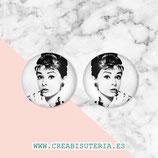 Cabuchón ilustrado - Personajes - Audrey Hepburn - 2 unidades