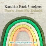 Abalorio arcilla Katsuki polimérica redondo plano 6,5mm (380/400 unidades apro) pack  tonos Amarillo verdes salmón