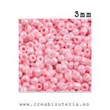 Abalorios -  Cristal de colores rocalla 3mm color rosa claro  40gr RP004