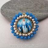 """Producto Acabado - Medalla religiosa - Modelo redondo20mm dorado """"Medalla Milagrosa"""" tono Azul"""