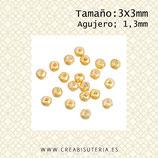 Entrepieza BOLA dorada-  zamak ,3mm  interior 1,3mm (500 piezas) C17