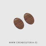 Madera colgante ovalado  madera nogal natural 23mm   M006  (10 unidades)