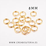 Anillas plateadas dobles doradas 8mm de diámetro de hierro  (100 unidades)
