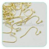 Ganchos pendientes torcido y bolita dorado- Hipoalergenicos -50 pares