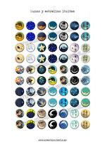 70 Imagenes Lunas y estrellas 18x18mm