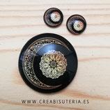 Cabuchón Cristal  luna negra dorada filigrana sobre negro 40mm + 14+14mm