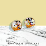 Cabuchón Cristal ilustrado infantil - Pareja de Mickey y Pluto - 2 cabuchones