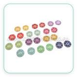 Cabuchón Cristal estampado geométrico floreado 12 tonos variados (24 unidades) 12 pares de 12mm