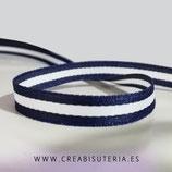 Cinta estampado línea continua blanca y azul marino 4 metros
