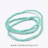 Abalorios -  Cristal facetado  4x3mm color turquesa efecto arcoiris/ esmerilado  NEW * PL007 (149 piezas)
