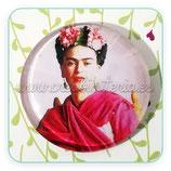Cabuchón Cristal Frida modelo mantón rojo y corona de flores