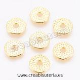 Entrepieza dorada - DO1- x - donuts plano texturizado 12mm ENTOOO-p071  (20 piezas)
